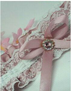 Pink garter wedding prom gemstones & rhinstones blue bow on reverse