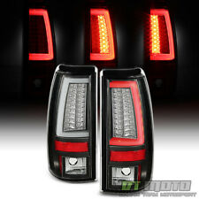 Blk 1999-2002 Chevy Silverado 99-06 GMC Sierra LED Tube Tail Lights Brake Lamps