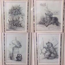 Charming Set Of 4 Sketches By C.B. Southcote Dated 1886 Fox Chasing A Goose