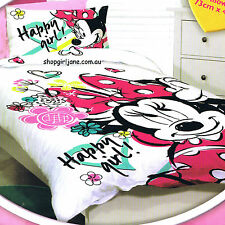 Minnie Mouse - Disney Happy Girl -Single/Us Twin Bed Quilt Doona Duvet Cover Set
