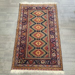 """2' 8"""" x 4' 5""""  Authentic Hand Knotted Rug, Geometric & Floral Design"""