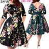 Plus 3XL-9XL Vintage Women 50s Swing Rockabilly Retro Floral Swing Dress V Back