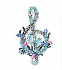 New Iron-On Applique Embroidered Patch Silver Sequin Treble G Clef Music Note