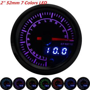 """Car 7-Color LED 2""""/52mm Air Fuel Ratio Gauge Analog Digital Dual Display Meter"""