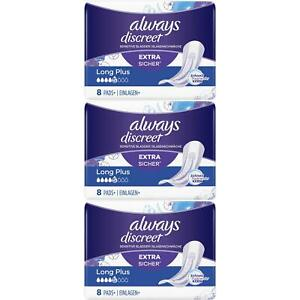 Always Discreet Sensitive Bladder Incontinence Pads Long Plus Pad Thin - 24 Pack