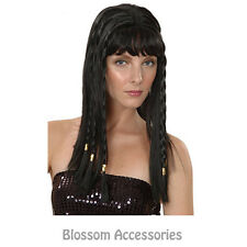 AS124 Egyptian Cleopatra Roman Black Long Adult Costume Wig With Braids