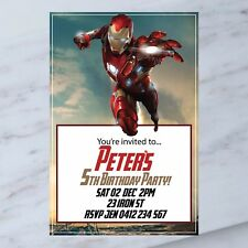 Personalised DIGITAL IRON MAN SUPERHERO Kids Birthday PartyInvitations YOU PRINT