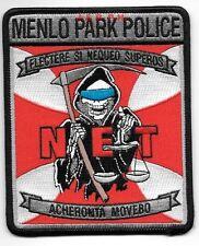 "Menlo Park  N.E.T. Drug Int., CA (4"" x 5"" size) shoulder police patch (fire)"