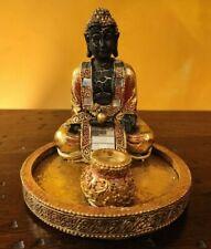 BRUCIA INCENSO ORO STATUA BUDDHA YOGA HIPPY MEDITAZIONE CHAKRA ETNICO INDIA