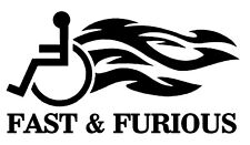 FAST & FURIOUS FLAMING WHEELCHAIR FUNNY VINYL DECAL STICKER FOR CAR