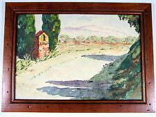 Aquarelle provençale XX° PAYSAGE signée A. Chardeyron, cadre bois, verre
