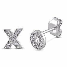 Amour Sterling Silver Diamond Accent 'X' and 'O' Stud Earrings