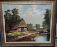 """Jansen """"Bauernhaus an Gewässer"""", Öl/Leinen, gerahmt, RG 63x72 cm (214/12012)"""