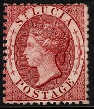St Lucia 1863 brownish-lake 1d crown CC reversed perf 12.5 mint SG5bx