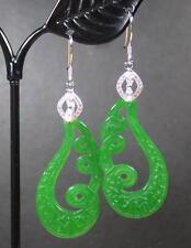 925 Sterling Silver Jade Earring Earrings Dangle Lotus Flower Teardrop 284873