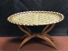 MID CENTURY Coffee Table Brass Tray Teak Folding Spider Legs Hong Kong Serpent