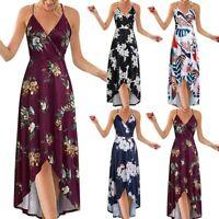 Women Summer V-neck Spaghetti Strap Dress Backless Printed Long Beach Sundress
