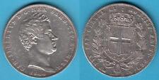 (2) - 5 LIRE 1844 ZECCA DI GENOVA - CARLO ALBERTO (1831-1849) REGNO DI SARDEGNA