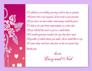 25 Money Cash Gift Poem Cards - Personalised - Wedding, Honeymoon Money