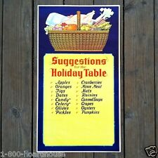 Original SUGGESTIONS FOR HOLIDAY TABLE Christmas Ideas Thanksgiving Poster 1930s