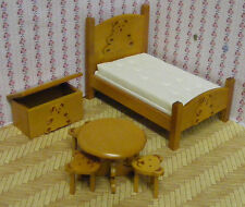 1:12th Scale 7 Piece Teddy Nursery Set Dolls House Miniature Bed Room Accessory