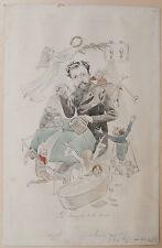 Dessin Original FERDINAND BAC Aquarelle Caricature Le Triomphe de la Douche XIXe