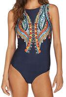 One Piece Swimwear Size 8 10 12 14 Womens Bathers Blue Boho Tribal Swimsuit