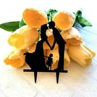 Silhouette Kissing Couple with A Girl Cake Topper Bachelorette Hens Party Decor