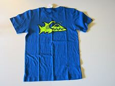 Quiksilver Boys XL Short Sleeve Blue Fin Logo Surf Tee T-Shirt Cotton NWT