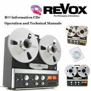 Revox b77 tape recorder reel to reel operation instruction service manual cd