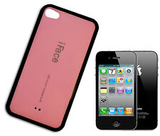COVER CASE FLIP COMPATIBILE PER IPHONE 4  PLASTICA LUCIDA I FACE ROSA NERO