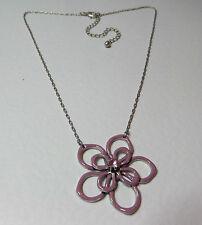 "Lovely Pink Púrpura Esmalte Flor Colgante Collar Piedra de Cristal Plateado Plata 16"""
