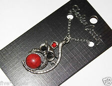 Owl Necklace set with Red Gem Stone