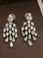 3,56 Cts Poire Marquise Couper Diamants Dangle Boucles d'oreilles En 750 18K Or