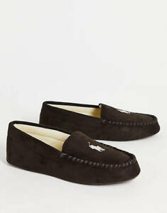 Mens Polo Ralph Lauren Dezi IV Moccasin Slippers Brown All Sizes new