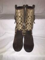 *COACH Brown Signature Tulip Boots Size 6.5