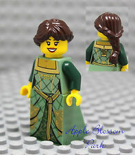 NEW Lego Castle FEMALE MAIDEN MINIFIG -Girl w/Brown Princess Hair Kingdoms Dress