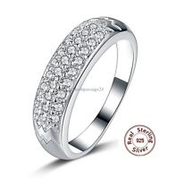 Romantic Noble Ring Real 925 Silver Zirconia Party Engagement Gift Silver Rings