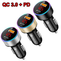 Dual USB Car Charger Adapter 3.0 + PD Fast Charging For iPhone Samsung Universal