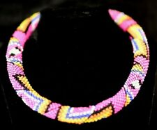 NATIVE AMERICAN STYLE BEADED ROPE HOT PINK MULTICOLOURED NECKLACE WITH CAP ENDS