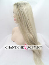 Ombre Blonde Wig Silky Straight Synthetic Hair Lace Front Wigs Heat Friendly UK