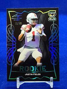 2021 Leaf Trinity #RB-09 Justin Fields RC Rookie Bears /50