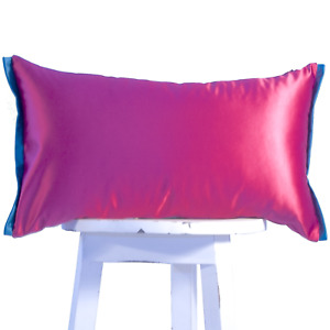 SALE Magenta and teal lumbar pillow cover case Luxury Satin Toss Cushion
