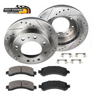 Rear Drill Slot Brake Rotors & Ceramic Pads For Silverado Sierra 2500 3500 HD