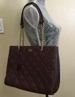 KATE SPADE Leather Emerson Place PHOEBE Quilted Chain Shoulder Bag Wine $428