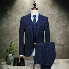 Navy Blue Man 3 Piece Plaid Suit Tuxedo Wedding Prom Party Dinner Suit Custom