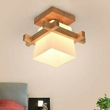 Oriental Japanese Ceiling Light for Home Lighting Glass Lampshade Wooden