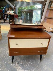 Vintage Mid Century 2 Tone Dressing Table Chest Drawers Mirror Dansette Legs