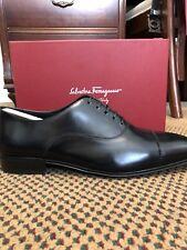 Salvatore Ferragamo REMIGIO Black Captoe Leather Oxford 10.5 EE Mens New In Box