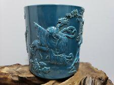 Rare Chinese Hand Carved Blue Glaze Porcelain Pen Brush  Marked